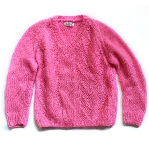 Vintage Mohair Chunky Knit, Handmade, Hot Pink